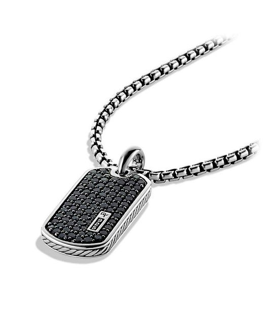 David Yurman | Pavé Tag With Black Diamonds for Men | Lyst