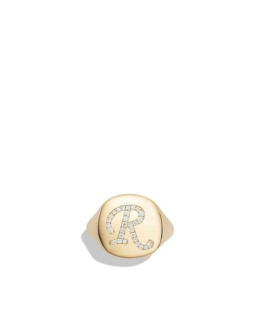 David Yurman | Metallic Dy Initial Pinky Ring With Diamonds In 18k Gold | Lyst