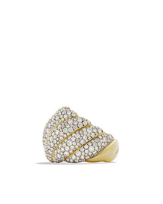 David Yurman - Metallic Hampton Cable Ring With Diamonds In 18k Gold - Lyst