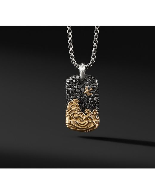 David Yurman - Waves Pave Tag With Black Diamonds And 18k Gold for Men - Lyst