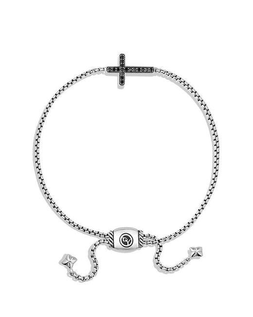 David Yurman - Pave Cross Bracelet With Black Diamonds - Lyst