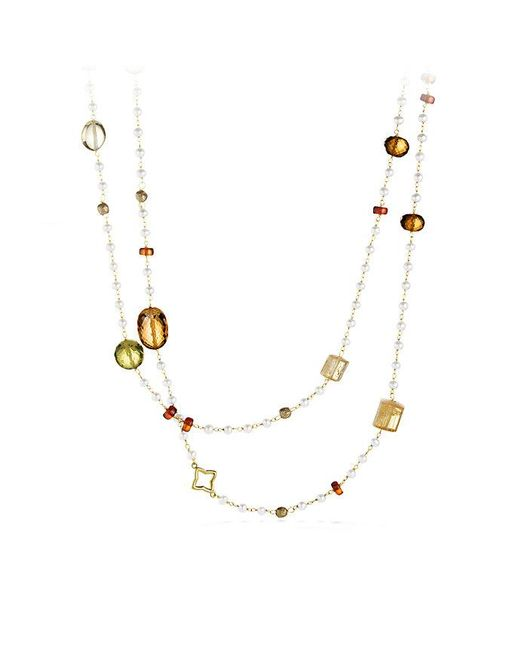 David Yurman | White Bijoux Bead Necklace With Olive Quartz And Citrine In 18k Gold | Lyst