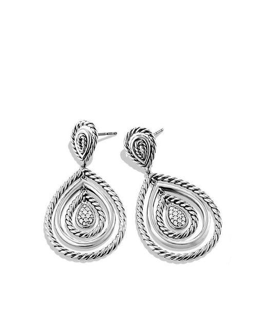 David Yurman | Metallic Mobile Cable Drop Earrings With Diamonds | Lyst
