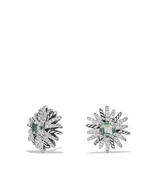 David Yurman - Green Starburst Earrings With Prasiolite And Diamonds, 19mm - Lyst