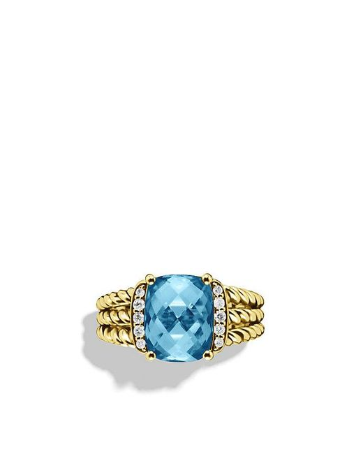 David Yurman - Petite Wheaton Ring With Hampton Blue Topaz And Diamonds In 18k Gold - Lyst
