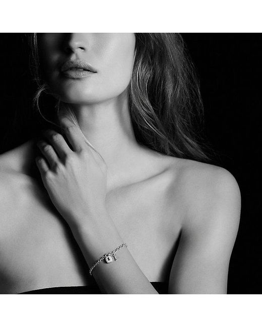 David Yurman | Metallic Cable Collectibles Lock And Key Charm Bracelet With Diamonds | Lyst