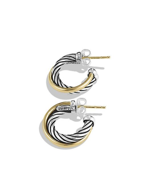 David Yurman | Metallic Crossover Hoop Earrings With 18k Gold | Lyst