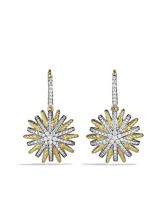 David Yurman | Metallic Starburst Drop Earrings With Diamonds In 18k Gold | Lyst
