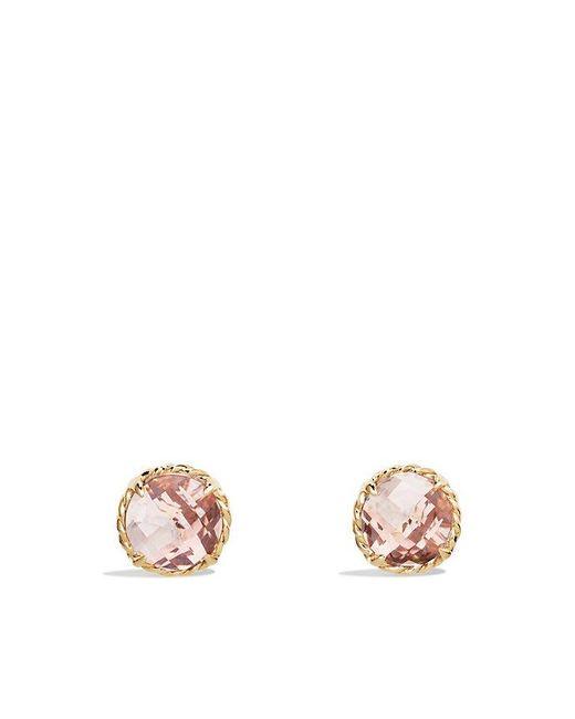 David Yurman | Metallic Châtelaine® Earrings With Morganite In 18k Gold | Lyst