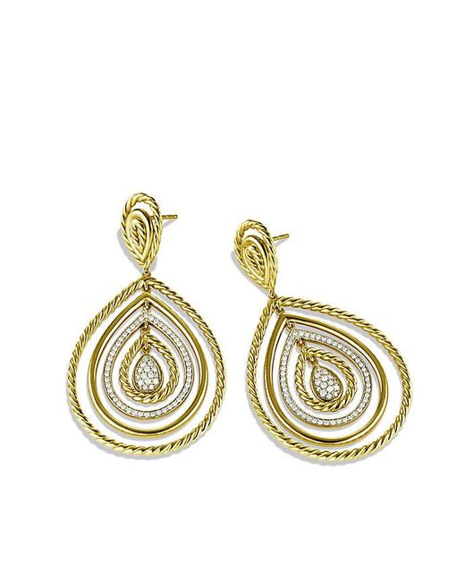 David Yurman | Metallic Mobile Drop Earrings With Diamonds In 18k Gold | Lyst