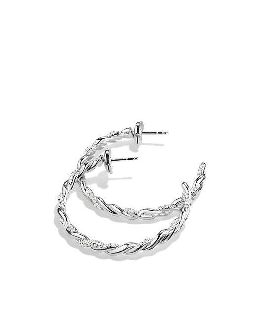David Yurman | Wisteria Hoop Earrings With Diamonds In 18k White Gold | Lyst