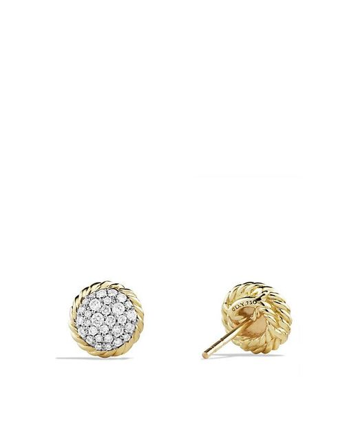 David Yurman | Metallic Petite Pave Earrings With Diamonds In 18k Gold | Lyst