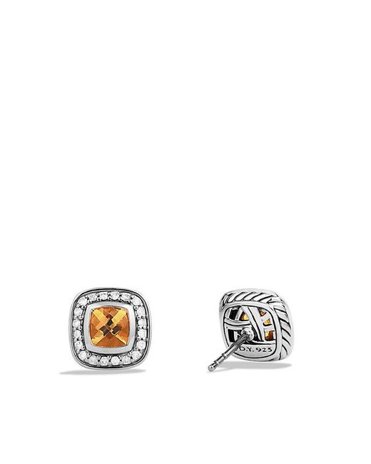 David Yurman | Metallic Petite Albion Earrings With Citrine And Diamonds | Lyst