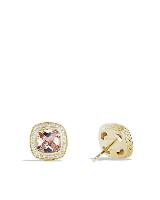 David Yurman | Pink Albion® Earrings With Morganite And Diamonds In 18k Gold, 7mm | Lyst
