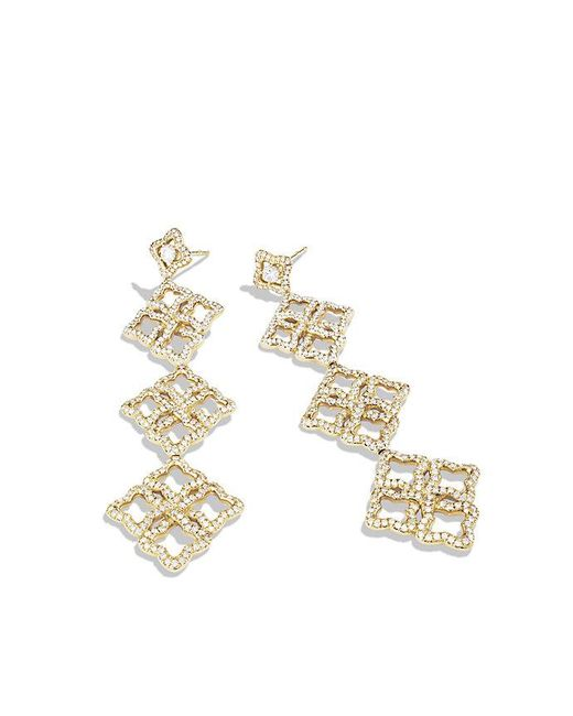 David Yurman | Metallic Venetian Quatrefoil Triple-drop Earrings With Diamonds In 18k Gold | Lyst