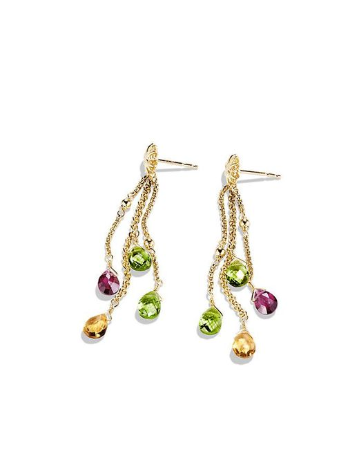 David Yurman | Metallic Bijoux Drop Earrings With Peridot, Citrine And Rhodalite Garnet In 18k Gold | Lyst