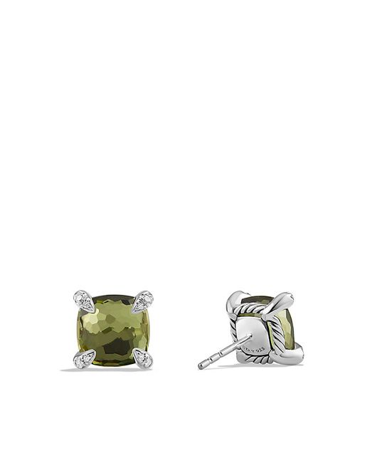 David Yurman | Châtelaine® Earrings With Green Orchid And Diamonds, 9mm | Lyst