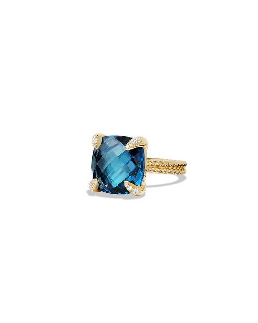 David Yurman - Châtelaine Ring With Hampton Blue Topaz And Diamonds In 18k Gold - Lyst