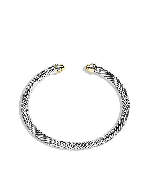David Yurman - Metallic Cable Classics Bracelet With Diamonds And 18k Gold, 5mm - Lyst