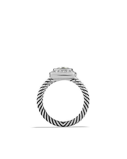 David Yurman | Metallic Petite Albion® Ring With Prasiolite And Diamonds | Lyst