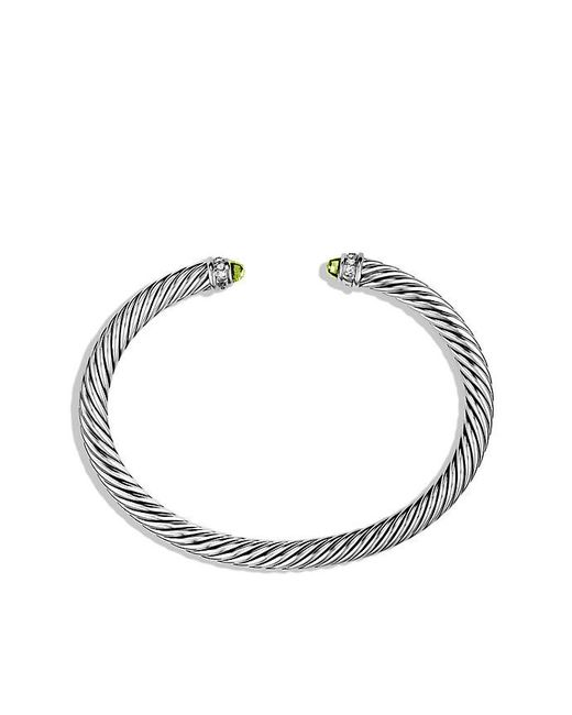 David Yurman - Metallic Cable Classics Bracelet With Peridot And Diamonds, 5mm - Lyst