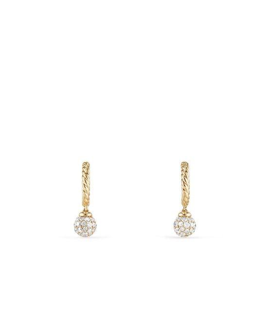 David Yurman - Metallic Petite Solari Hoop Pave Earrings With Diamonds In 18k Gold - Lyst