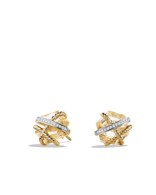 David Yurman - Metallic Cable Wrap Earrings With Champagne Citrine And Diamonds In 18k Gold, 10mm - Lyst