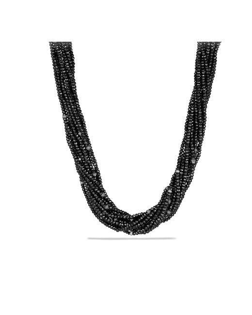 David Yurman - Dy Signature Bead Necklace With Black Spinels And Diamonds - Lyst