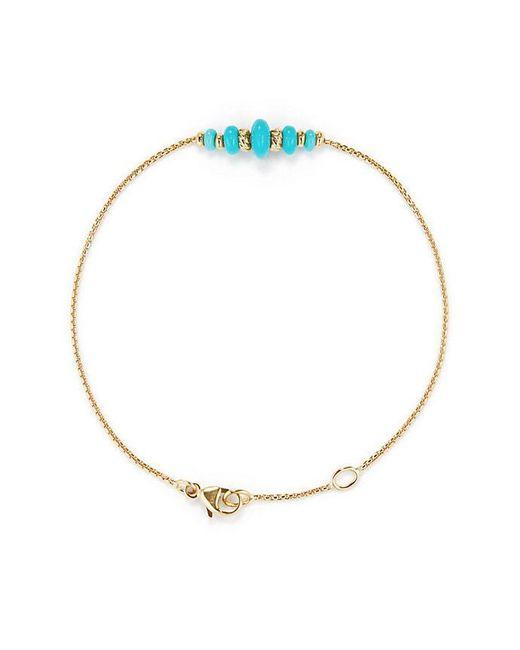 David Yurman - Metallic Rio Rondelle Center Station Chain Bracelet With Turquoise In 18k Gold - Lyst