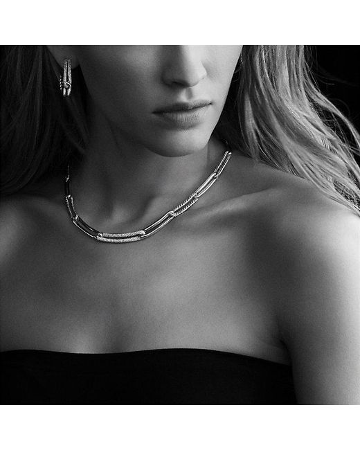 David Yurman | Metallic Labyrinth Link Necklace With Diamonds | Lyst