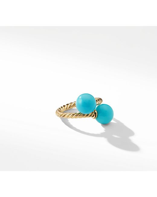 David Yurman - Blue Solari Bypass Ring With Turquoise In 18k Gold - Lyst