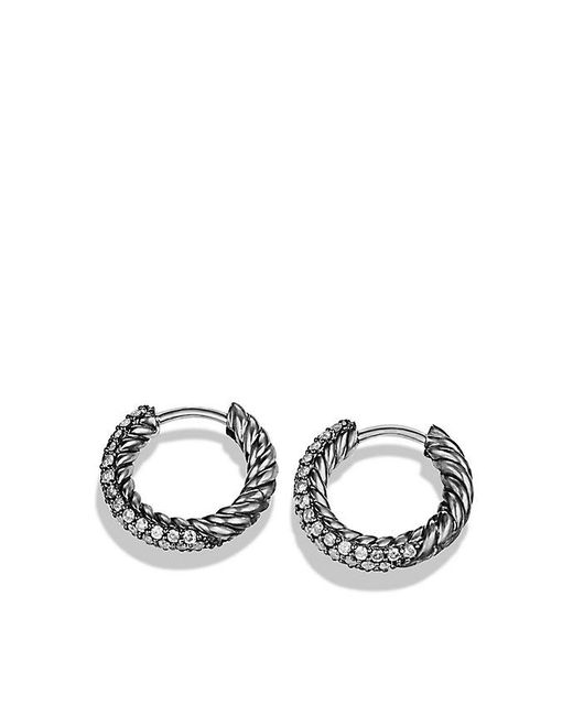 David Yurman | Metallic Petite Pavé Huggie Hoop Earrings With Gray Diamonds | Lyst