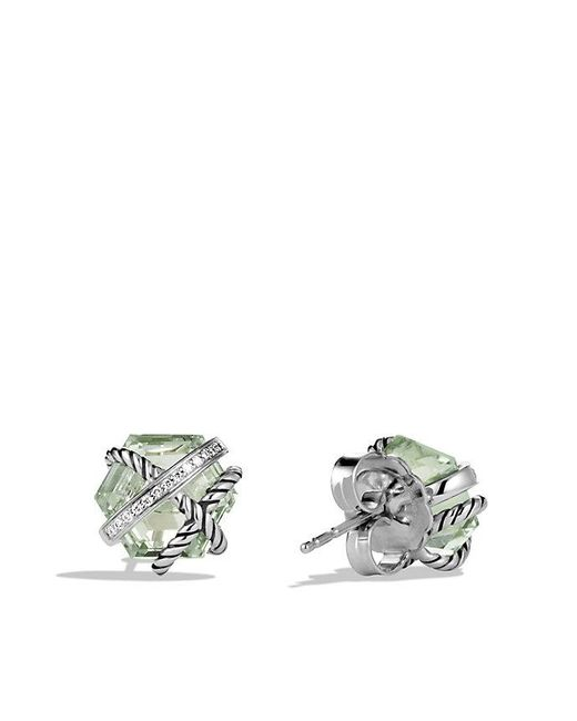 David Yurman - Metallic Cable Wrap Earrings With Prasiolite And Diamonds, 10mm - Lyst
