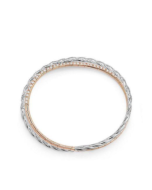David Yurman | Pavéflex Two Row Bracelet With Diamonds In 18k White And Rose Gold | Lyst