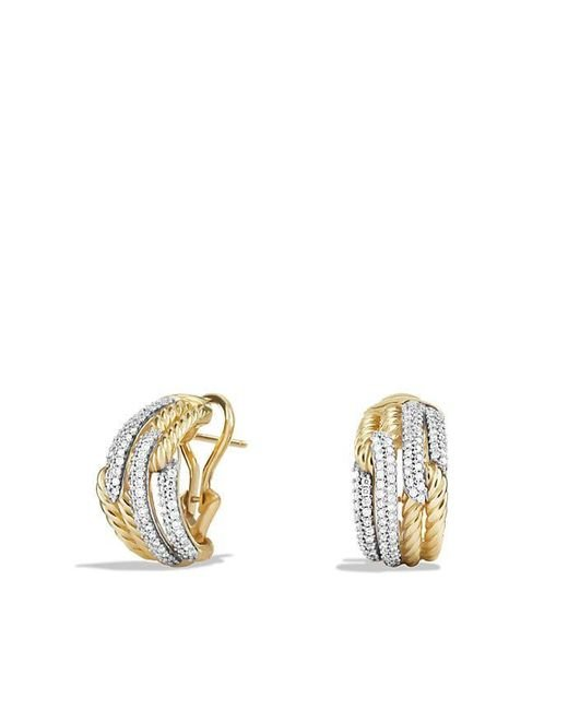 David Yurman - Metallic Labyrinth Double-loop Earrings With Diamonds In 18k Gold - Lyst