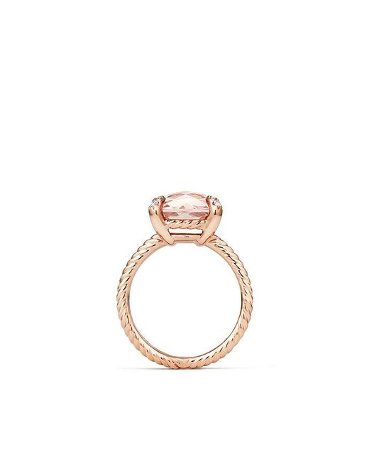 David Yurman - Pink Chatelaine® Ring With Morganite And Diamonds In 18k Rose Gold, 11mm - Lyst