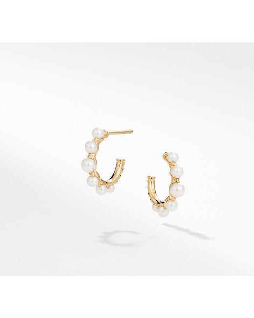 David Yurman - Metallic Petite Perle Graduated Hoop Earrings With Cultured Freshwater Pearls In 18k Gold - Lyst