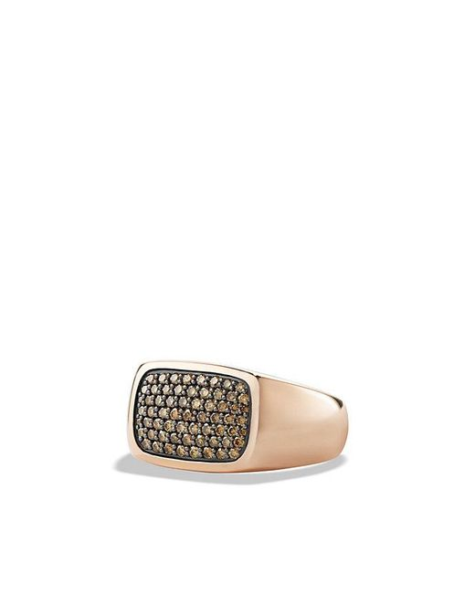 David Yurman - Brown Pave Signet Ring With Cognac Diamonds In 18k Rose Gold for Men - Lyst