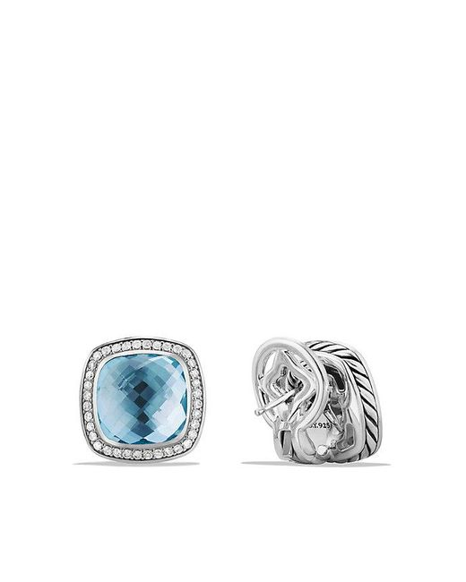 David Yurman | Albion® Earrings With Blue Topaz And Diamonds, 11mm | Lyst