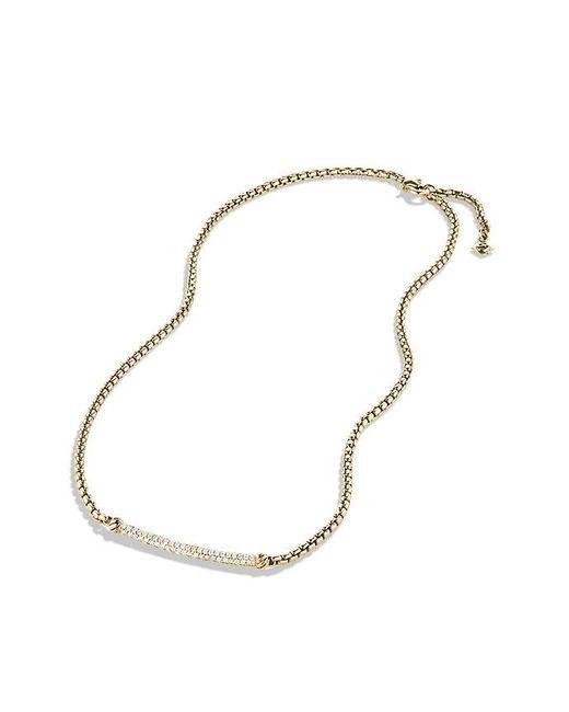 David Yurman | Metallic Petite Pavé Metro Chain Necklace With Diamonds In 18k Gold | Lyst