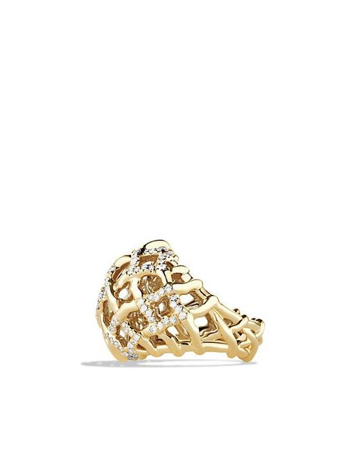 David Yurman | Metallic Venetian Quatrefoil Dome Ring With Diamonds In 18k Gold | Lyst