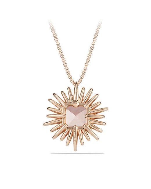 David Yurman | Metallic Starburst Pendant Necklace With Diamonds And Morganite In 18k Rose Gold, 30mm | Lyst