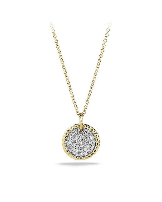 David Yurman | Metallic Cable Collectibles Pavé Charm Necklace With Diamonds In 18k Gold | Lyst