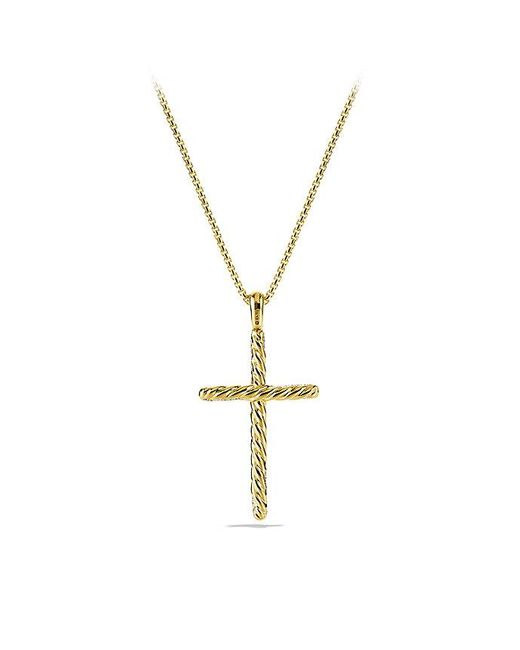 David Yurman | Metallic Willow Cross Necklace With Diamonds In 18k Gold | Lyst