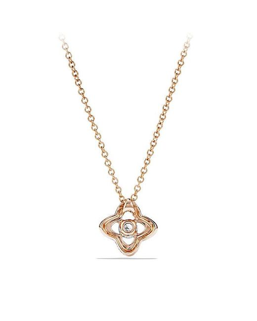 David Yurman | Metallic Venetian Quatrefoil Necklace With Diamonds In 18k Rose Gold | Lyst
