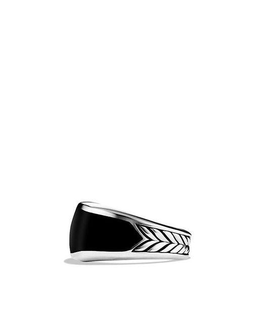 Stone Signet Ring With Black Onyx In Black Titanium