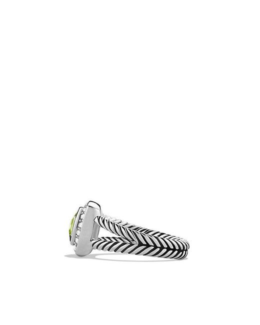 David Yurman | Metallic Petite Albion® Ring With Peridot And Diamonds | Lyst