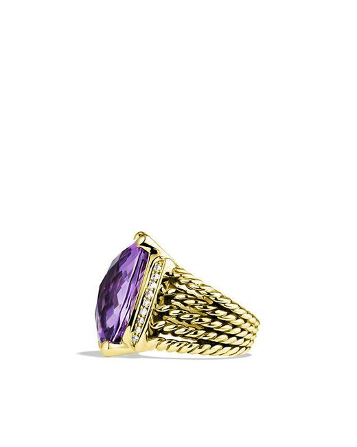 David Yurman | Yellow Wheaton Ring With Amethyst And Diamonds In 18k Gold | Lyst