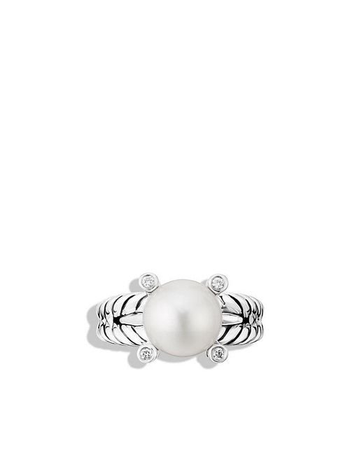 David Yurman | White Cable Pearl Ring With Diamonds | Lyst