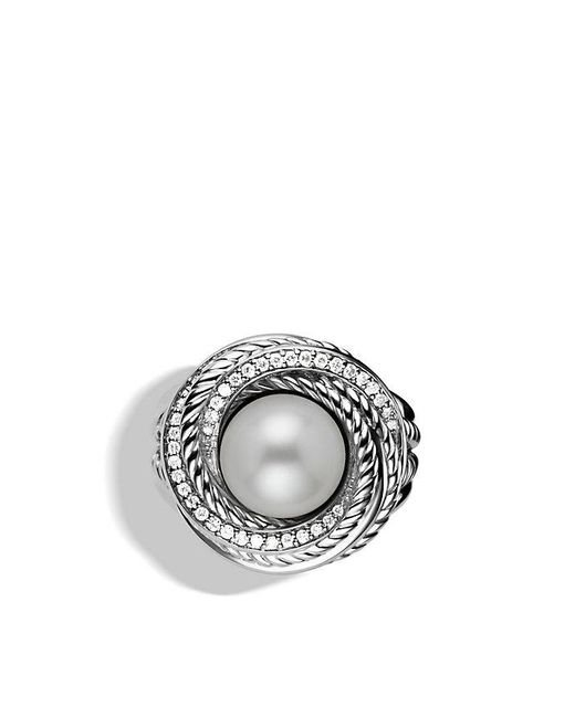 David Yurman | White Crossover Pearl Ring With Diamonds | Lyst